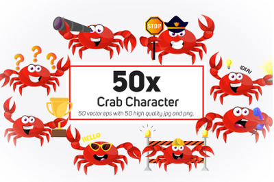 50x Crab Character and Mascot collection illustration.
