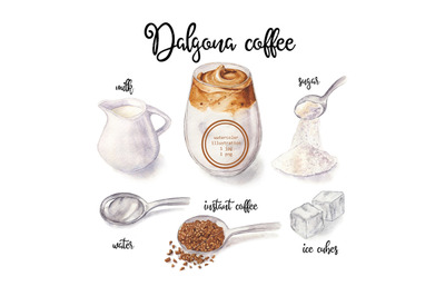 Watercolor illustration of dalgona coffee and ingredients