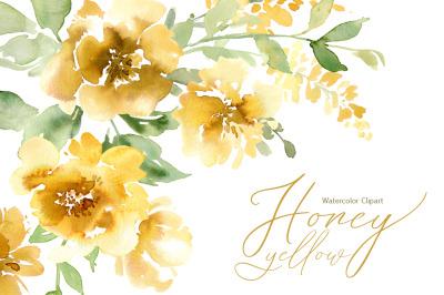 Watercolor Yellow Flowers Peonies