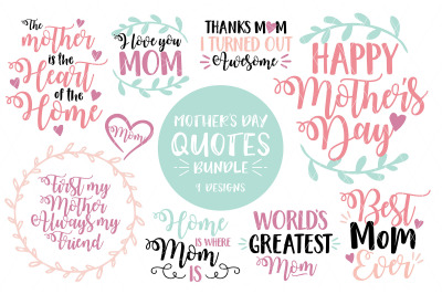 Mother's Day Quotes Bundle - SVG - DXF - PNG