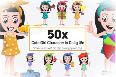 50x Cute Girl Character in Daily life action collection illustration.