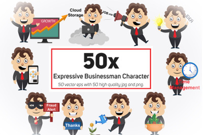 50x Expressive Businessman Character Collection illustration.