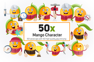 50x Mango Character or Mascot Collection illustration.