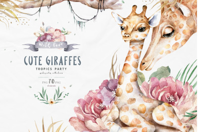 Cute Giraffes Watercolor Tropic