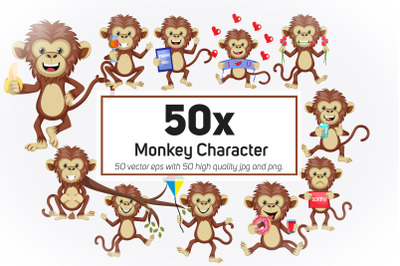 50x Monkey Character or Mascot collection illustration.