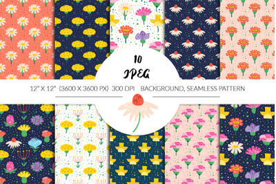 Hand drawn vector floral seamless pattern, digital paper.