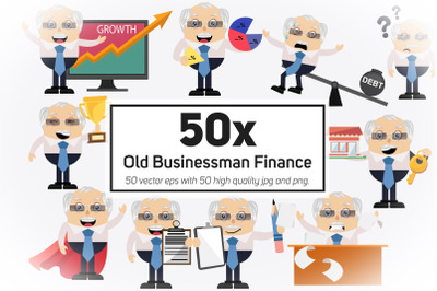 50x Old Businessman Finance and Business Collection illustration.