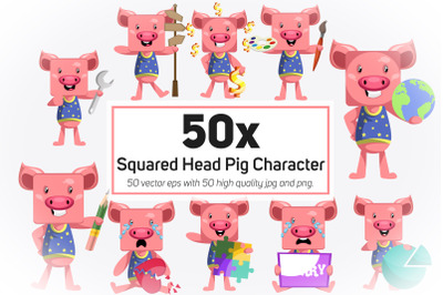 50x Squared Head Pig Character and Mascot Collection illustration.