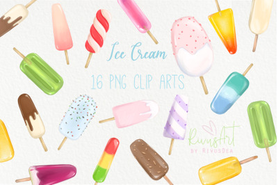Ice cream PNG clipart. Digital download. Sorbetes, popsicle, ice milk