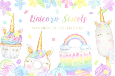 Unicorn Sweets Watercolor Collection of Cliparts and Patterns