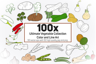 100x Ultimate Vegetable Collection - Color and Line Art - illustration