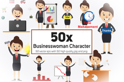 50x Businesswoman Character and Mascot Collection illustration.