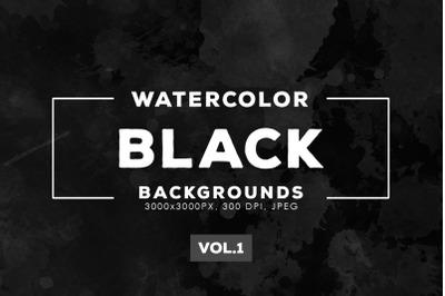 Watercolor Black Backgrounds Vol.1
