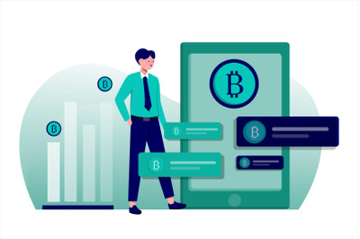 Bitcoin Businessman Flat Vector Illustration