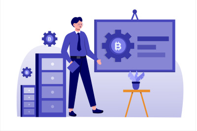 Bitcoin Presentation Flat Vector Illustration