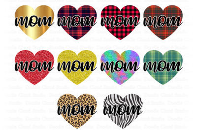 Mom PNG, Mom With Heart PNG Bundle, Mother's Day Png.