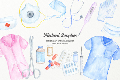 Watercolor Medical Supply Clipart