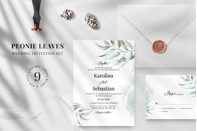Peonie leaves Wedding Invitation Suite