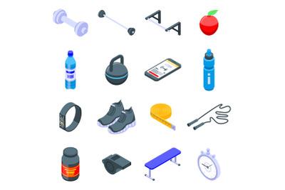 Gym time icons set, isometric style
