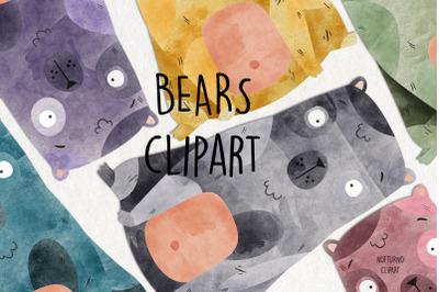 Watercolor Bear Clipart. Instant Download Printable. Set of 15 digital