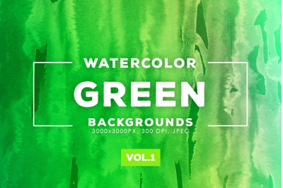 Watercolor Green Backgrounds Vol.1