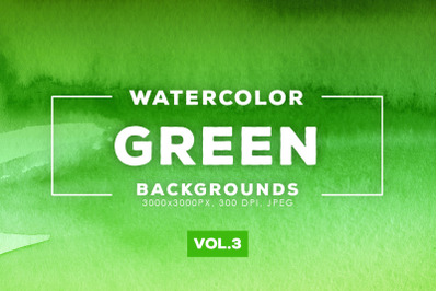 Watercolor Green Backgrounds Vol.3