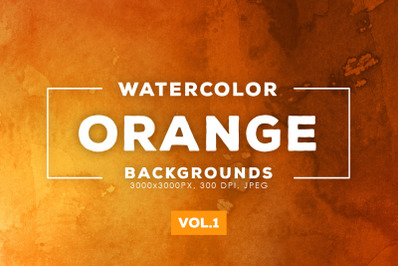 Watercolor Orange Backgrounds Vol.1