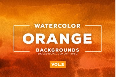 Watercolor Orange Backgrounds Vol.2
