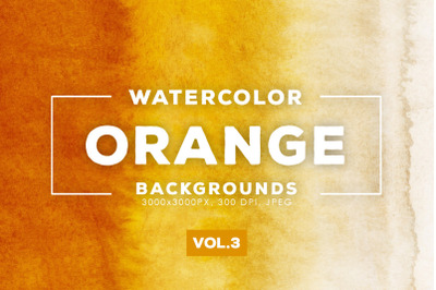 Watercolor Orange Backgrounds Vol.3