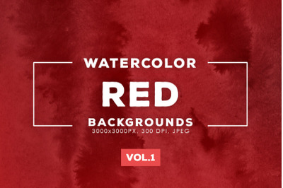 Watercolor Red Backgrounds Vol.1