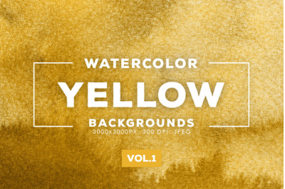 Watercolor Yellow Backgrounds Vol.1