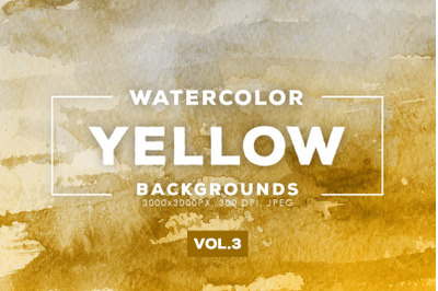 Watercolor Yellow Backgrounds Vol.3