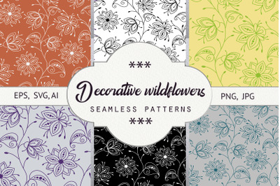 Decorative wildflowers. Seamless patterns