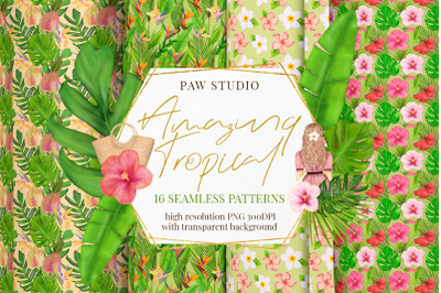 Tropical Seamless Patterns With Flowers, Leaves. Exotic Transparent Ba