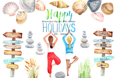 Watercolor  HAPPY HOLIDAYS Clip Art