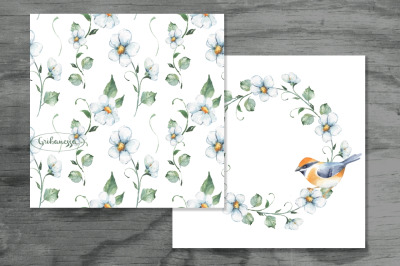 White flowers. Pattern and card