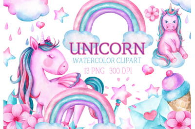 Watercolor Unicorn Clipart rainbow clip art baby shower png