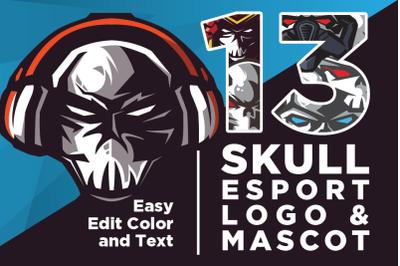 Editable Skull Logo Mascot Esport