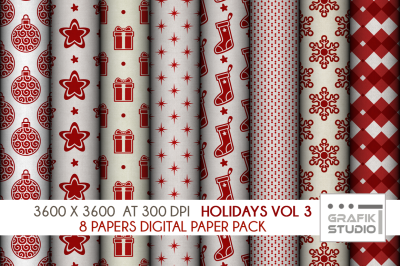 Christmas Holidays Digital Papers Pack VOLUME 3, Seamless Pattern Paper Pack, Seamless Pattern