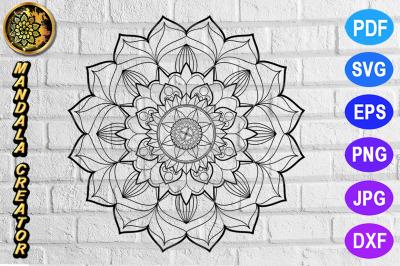Zentangle Mandala SVG Cut File Monogram Vector Art - 3