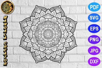 Zentangle Mandala SVG Cut File Monogram Vector Art - 4