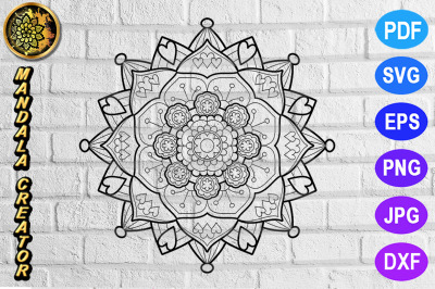 Zentangle Mandala SVG Cut File Monogram Vector Art - 5