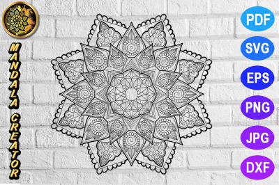 Zentangle Mandala SVG Cut File Monogram Vector Art - 6