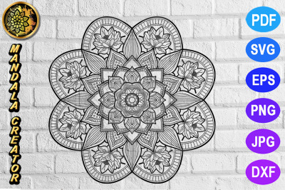 Zentangle Mandala SVG Cut File Monogram Vector Art -  7