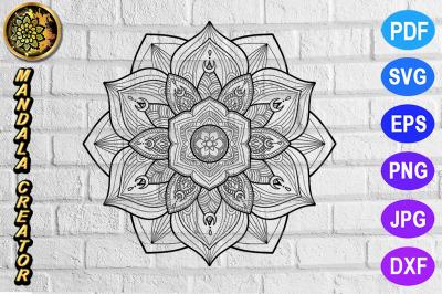 Zentangle Mandala SVG Cut File Monogram Vector Art - 23