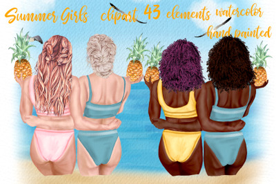 Summer girls clipart Beach girls Swimwear girl clipart