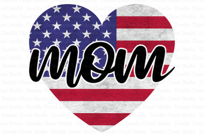 Mom Flag Heart PNG, Mother's Day Design PNG.