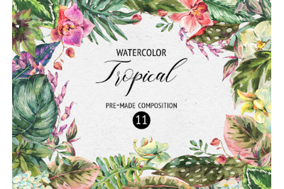 Tropical leaves graphic pack