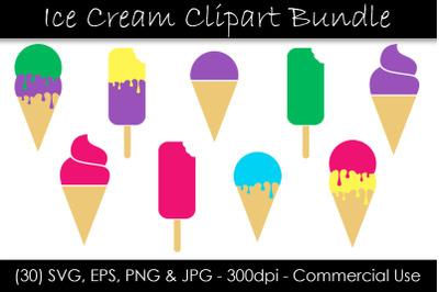 Ice Cream SVG Bundle - Ice Cream Cone & Popsicle Clipart