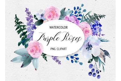 Watercolor Purple Roses Clipart